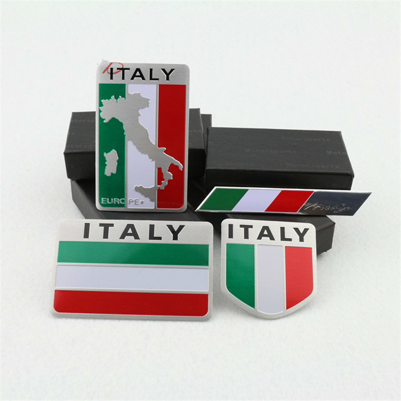 3D Aluminum Italy car Sticker Italy Flag Car-styling accessories Emblem stickers For chevrolet skoda honda Auto Badge Decal