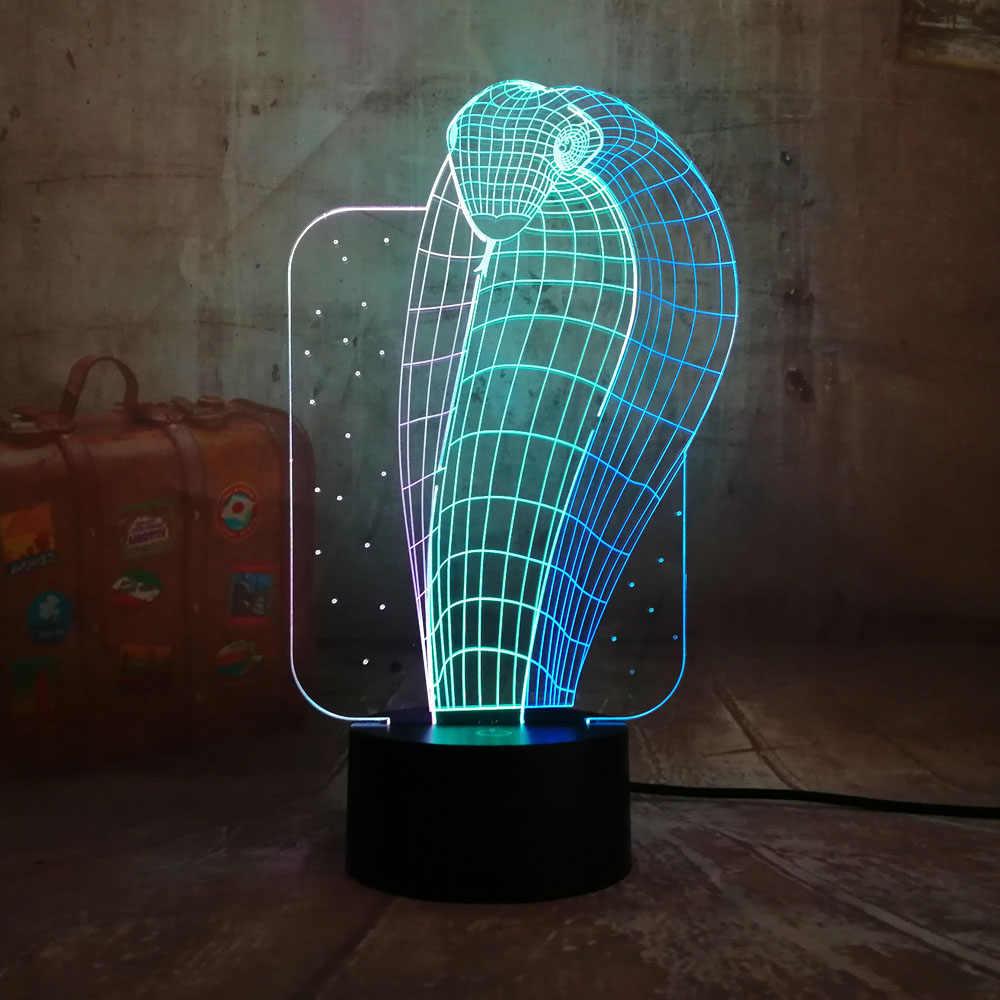 Nouveau Animal Cobra 3D LED RGB nuit Lihgt 7 mixte double couleurs nouveauté bébé sommeil lampe cadeau de noël pour enfant décor à la maison multicolore