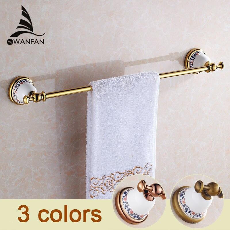 ФОТО Free Shipping Golden Chrome Ceramics Brass Single Towel Bars Holder Racks Bathroom Accessories XL-3310