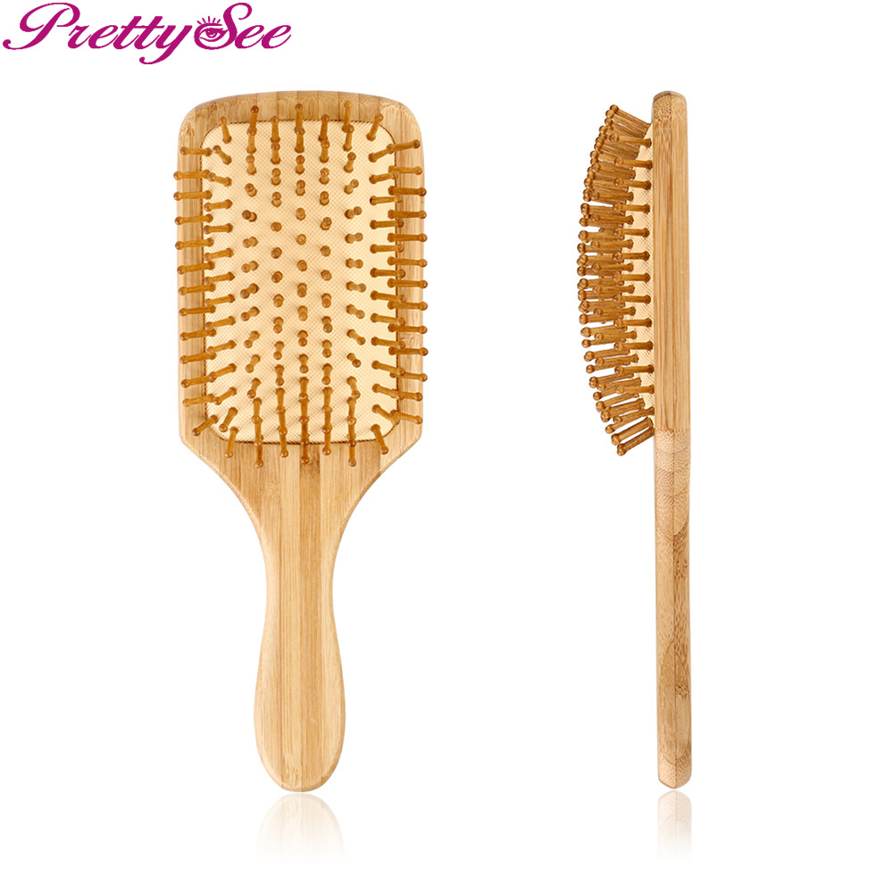 PRETTYSEE Hair Styling Tools Head Relaxing Small Square Wooden Massage Comb Natural Wood Salon Hair Scalp Hair Brush Comb tooltoo women tools hair comb professional brush hair extension handle tangle nylon wide tooth comb hair scalp massage