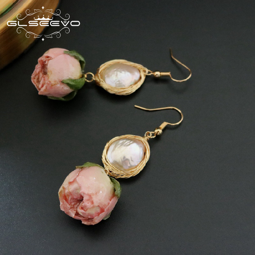 GLSEEVO Natural Fresh Water Baroque Pearl Dangle Earring Flower Drop Earrings Gifts For Women Fine Jewelry GE0492 best lady special design bohemian wedding natural fresh water pearls earring women fashion dangle jewelry multi color earrings