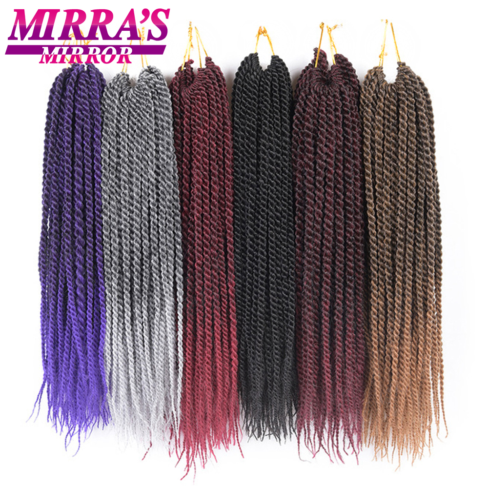 "Mirra's Mirror 30Roots Senegalese Twist Hair Crochet Synthetic Braiding Hair Ombre Crochet Braid Hair Extensions 14""16""18""20""22""(China)"