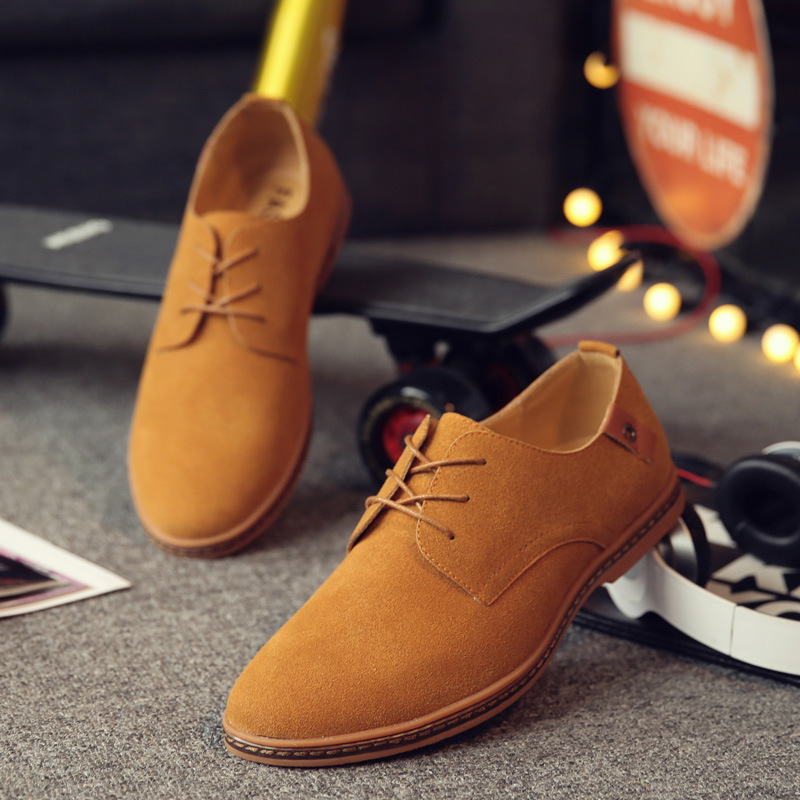 2017 Hot Sale Fashion Men Suede Leather Casual Shoes men spring autumn tide brand Designer Casual Men Shoes Lace Up Shoes Men 2016 new men s leather shoes men spring autumn men s oxford shoes flats hot sale tide brand men shoes