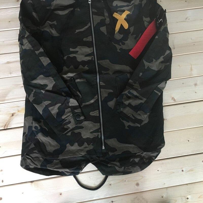 Camouflage Jacket Men Coats High Street Ribbon Patchwork Cotton Men X Print Bomber Coat Autumn Harajuku Pilot Flight Jacket