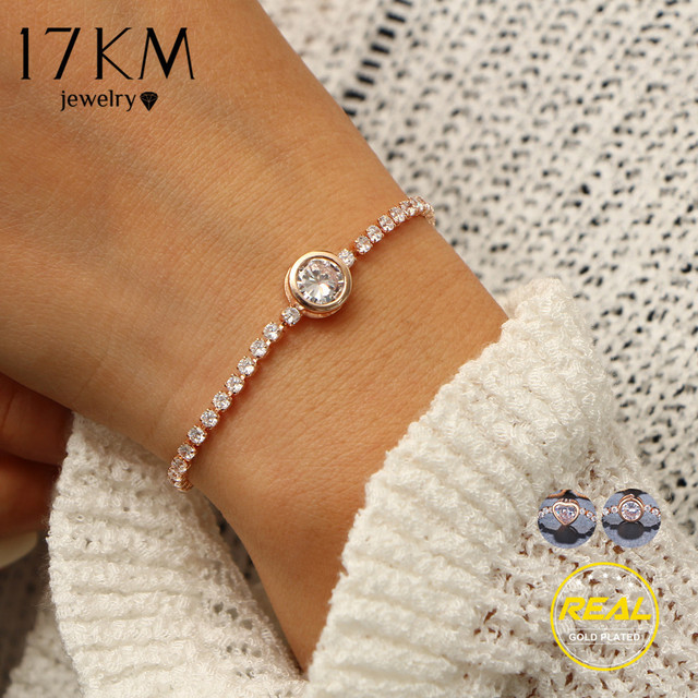 17KM New Round Tennis Bracelet For Women Rose Gold Silver Color Cubic Zirconia Charm Bracelets & Bangles Femme Wedding Jewelry