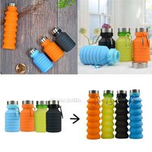 2019 New Creative Squeezed Adjustable Water Bottles Bottle Folding Sports Travel Climbing Hiking Drink Kettle 550ML