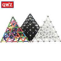 QWZ 50 pcs-280 pièces Aimant Barres et Boules En Métal de Construction Magnétique Jouets Créatifs bricolage Design Jouet Éducatif Pour Enfants Cadeaux