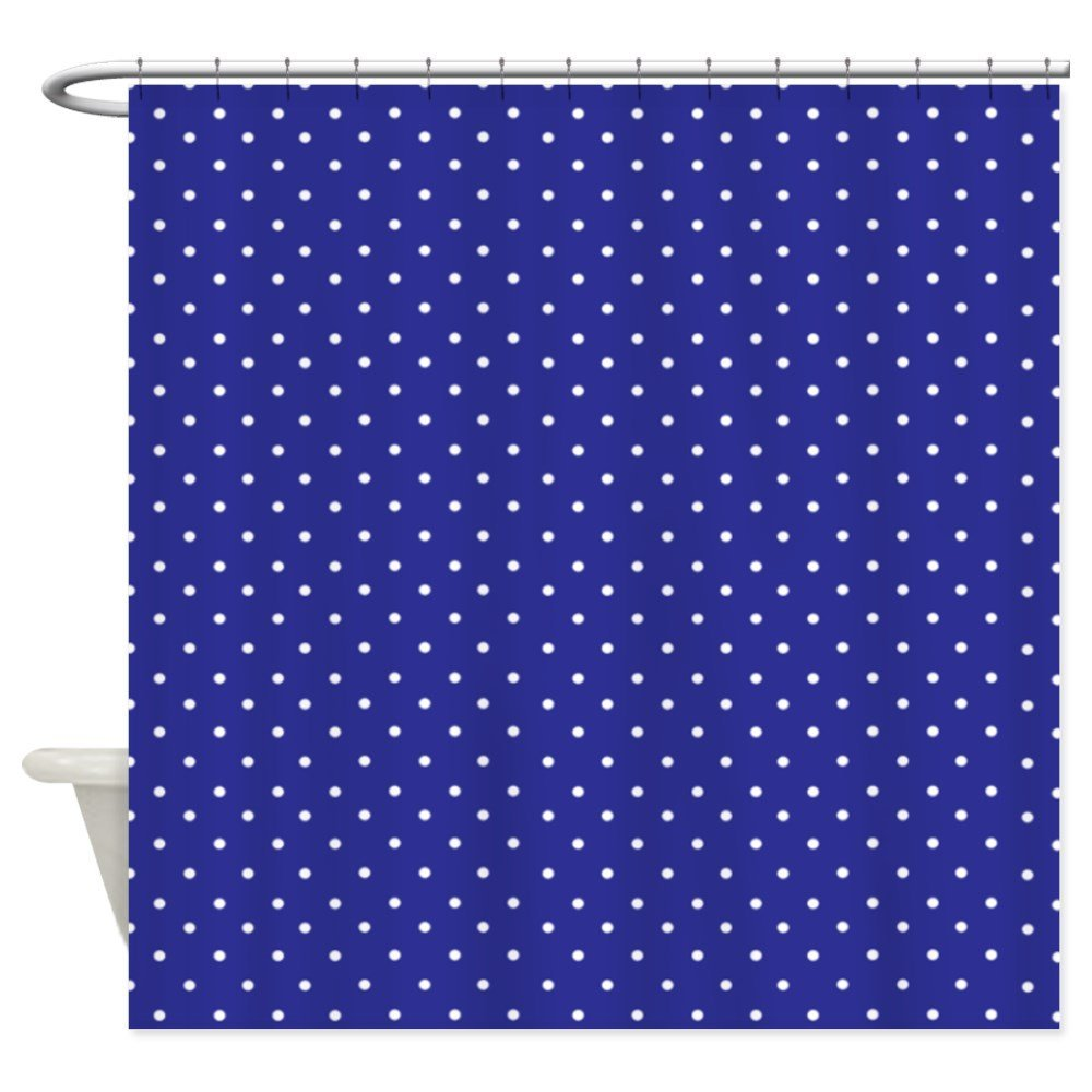 Small polka dot Navy blue Shower Curtain Decorative Fabric Shower ...