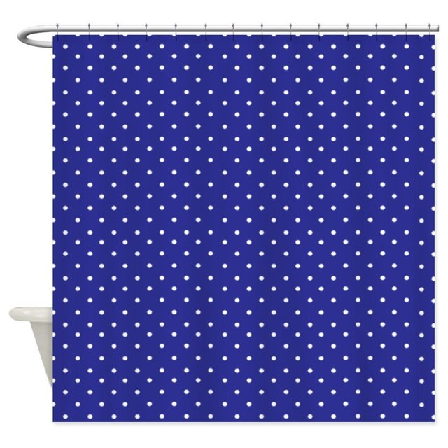 Small Polka Dot Navy Blue Shower Curtain Decorative Fabric 12 Hooks Curtains Bath Customize
