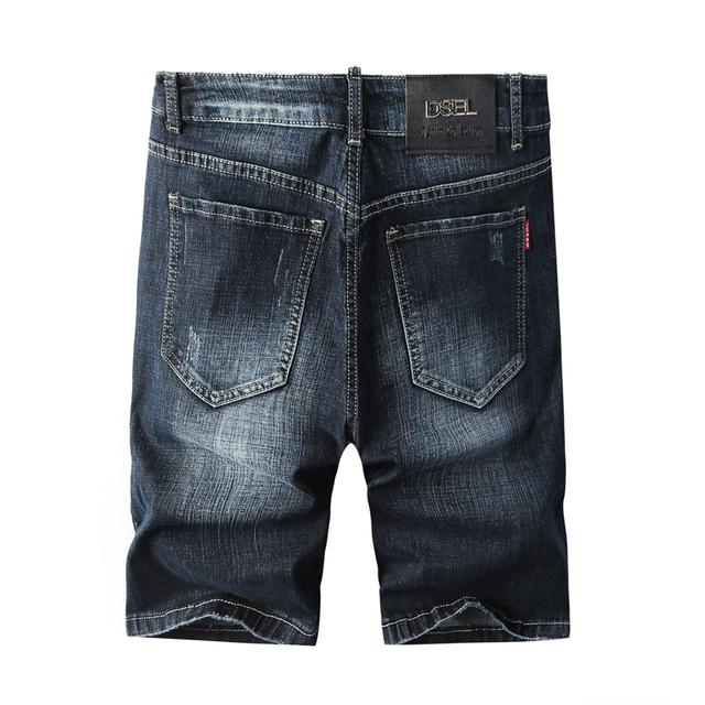 Fashion Summer Black Blue Color Slim Fit Elastic Frayed Hole Ripped Brand Designer Men Denim Short Jeans