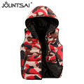 2016 New Brand Lovers Casual Women Vest Camouflage Colete Feminino Autumn Winter Hooded Cotton Padded Men's Vests 6 Size