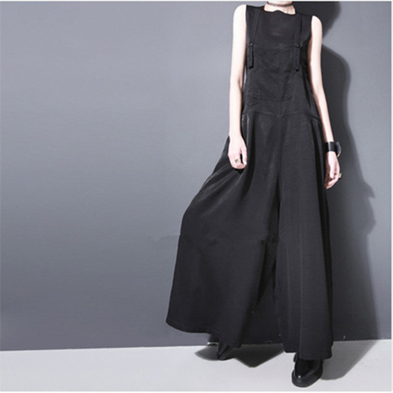 2019 Summer Women Facings Loose Suspenders Wide Leg Pants Bib Pants Trousers Female Overalls Black