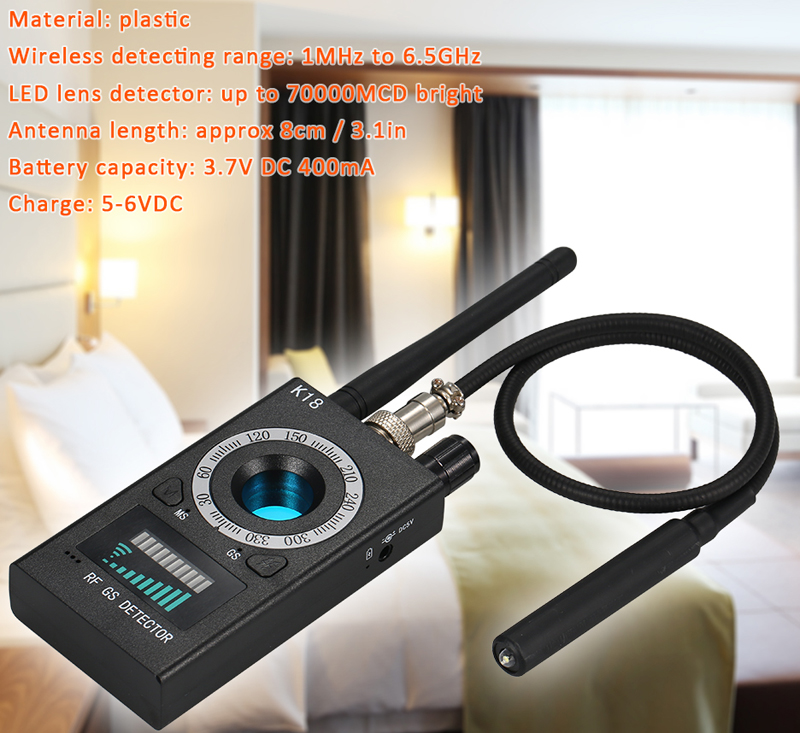 1MHz 6.5GHz K18 Multi function Anti spy Detector Camera GSM Audio Bug Finder GPS Signal Lens RF Tracker Detect Wireless Products