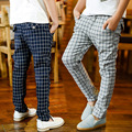 Leggings terno das crianças nova primavera 2016 outono calças cintura elástica xadrez moda atividade regular meninos grandes calças compridas