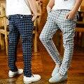 Nuevo 2016 del otoño del resorte Polainas de los niños del traje de pantalones de cintura elástica activo regular plaid moda grandes pantalones niños pantalones largos