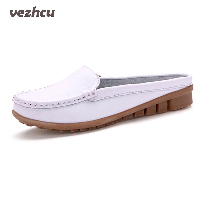 VZEHCU Flats Women Summer Casual Sandals Fashion Genuine Leather Shoes Women Slip On Flats Women Shoes Plus Size 35-41 3d18