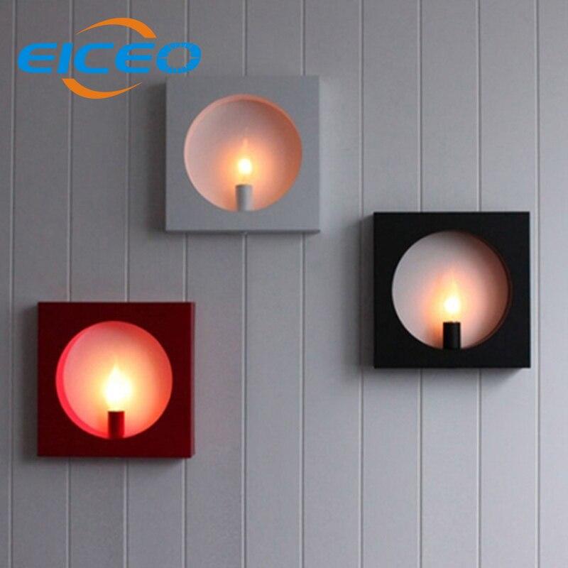 ФОТО (EICEO) Creative Modern Minimalist Living Room LED Wall Lamp Bedside Square Frame Background Corridor Decorative Lighting AC220V