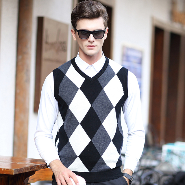 2016 Новая Мода Высокого Качества 100% Шерсть Мужская V Образным Вырезом Без Рукавов Argyle Свитер, Жилет
