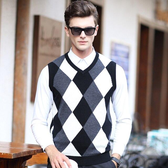 2016 New Fashion High Quality 100% Wool Mens V Neck Sleeveless Argyle Sweater Vest