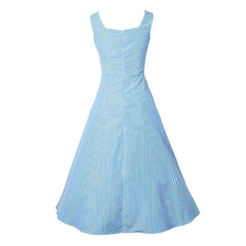 73b08266cb4 ... Sisjuly Vintage 1950s Dresses Summer Light Blue Women Striped Dress  Slash Neck Mid Calf Rockabilly Retro