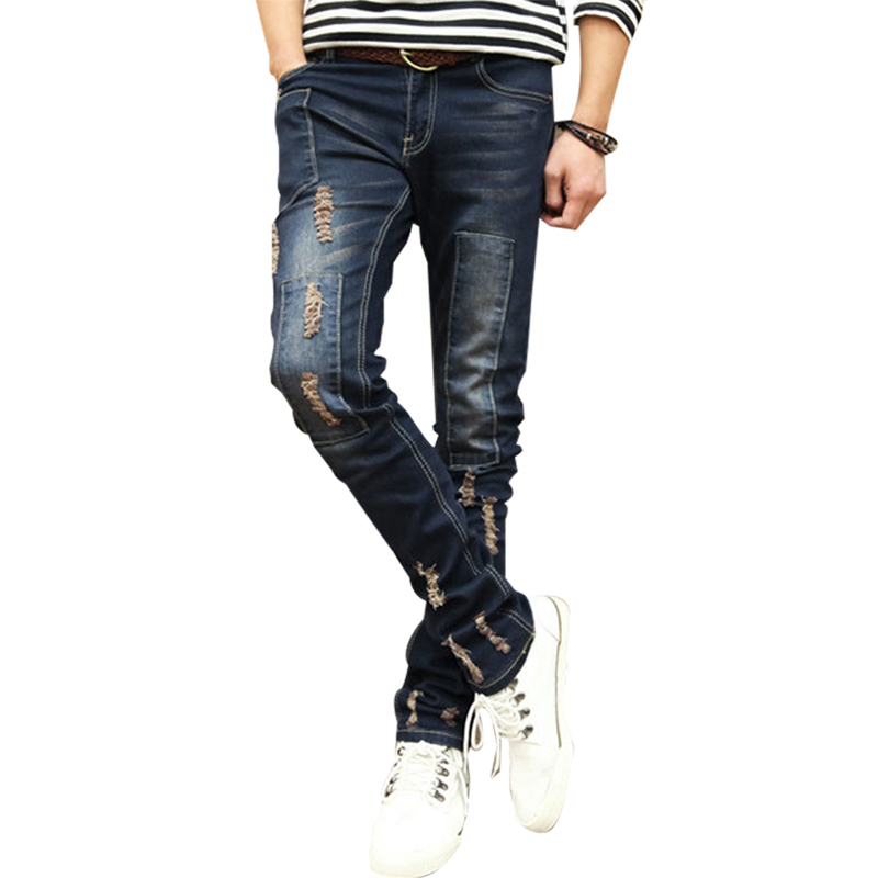 ФОТО Autumn Winter Mens Jeans Broken Man Distressed Ripped Jeans Patch Hollow Out Fake Designer Clothes Retro Pencil Denim Pants Slim