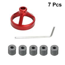 цена на 7pcs Drill Woodworking Hole Puncher Vertical Drilling Fixture Woodworking Locator (1 Drill Guide +5 Drill Bushing+1 Wrench)