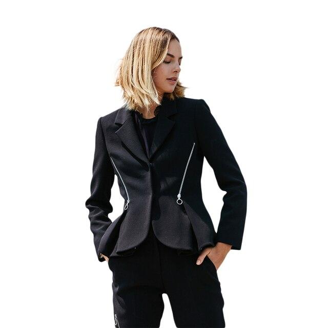 Black long sleeve zip decoration notched collar cropped blazers for women ladies formal OL peplum hem coats outwear for work