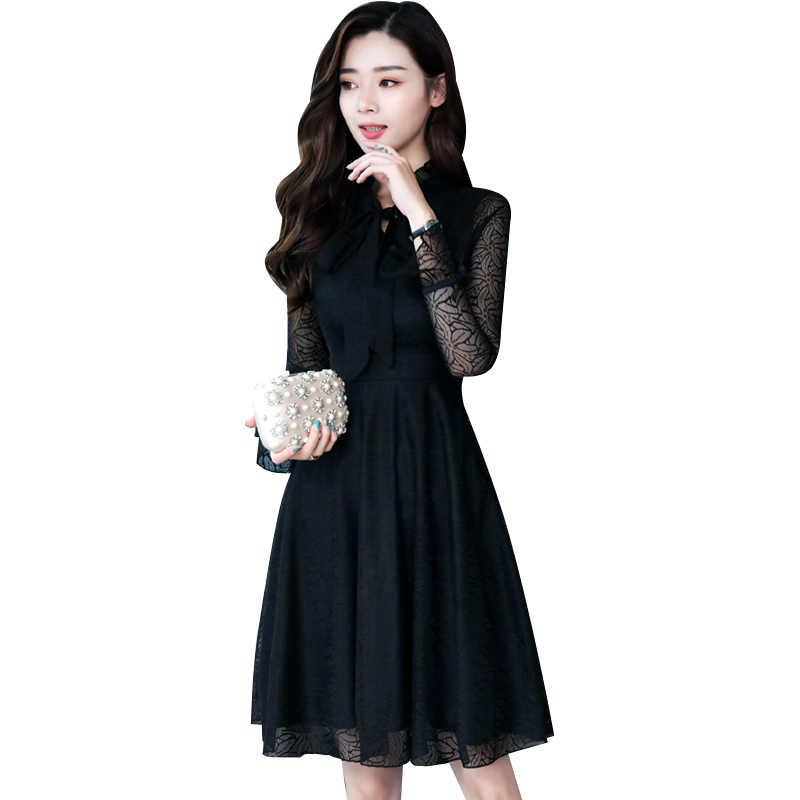 2019 осень зима новый плюс размеры черный кружево пикантные трапециевидной формы женские платья миди Элегантный Bodycon Вечерние с длинным рукаво