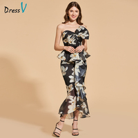 Dressv druku bowknot cocktail dress elegancki bez ramiączek tea długość zipper up mermaid wedding party formalna suknia koktajl sukienka