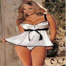 Sexy Costumes Sex Baby Doll Lingerie Sets Ladies Plus Size Tender Charming His Hip Strap Miniskirt Cleavage Satin Dress Vestidos