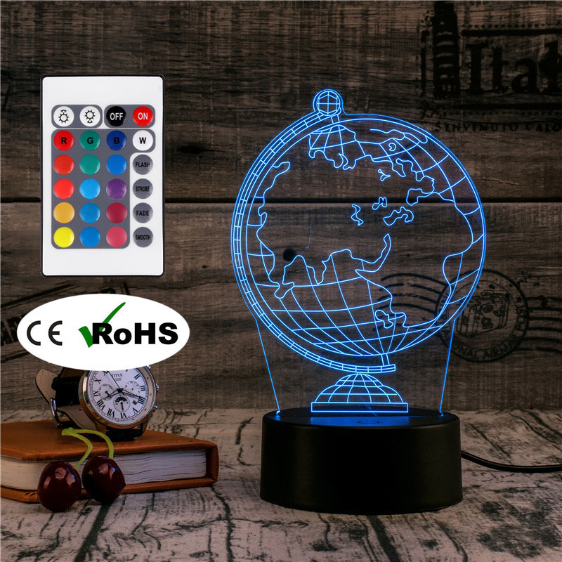 3D Led Novety Lighting Creative Gift Night Light Table Lamp Bedside Globe Light Led Home Corridor Hotel Party Atmosphere Lights image
