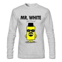 새로운 오는 남성 T 셔츠 긴 소매 Mr 흰색 탄성 럭셔리 브레이킹 티 탑 t 셔츠
