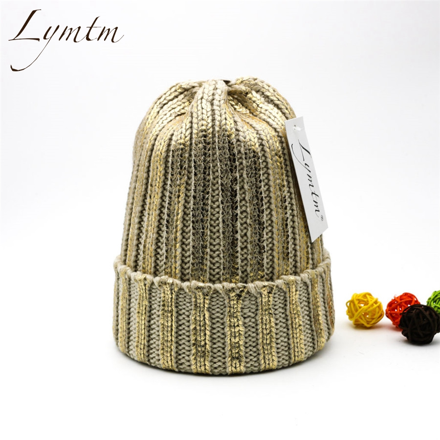 [Lymtm] Fashion Gold And Silver With Caps Raccoon Fur Pompon Hat For Women Knitting Warm Winter Hats Female   Skullies     Beanies