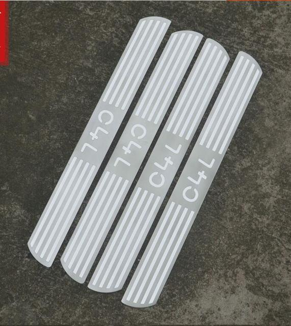 Высококачественная Нержавеющая Сталь Ультра тонкие Накладка/порога протектор Стикеры Автомобиль Стайлинг для 2012-2016 Citroen C4L