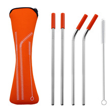 6Pcs/set Reusable Stainless Steel Straws Straight Bent Drinking with Silicone Tips for Hot Cold Beverage Drink Bar Tools