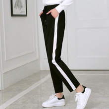 2018 Spring and summer Women Casual Sweatpants black White Striped Printed Side  Pant Ladies Loose Trousers 86c53f01553