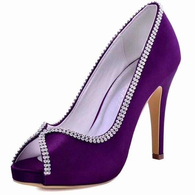 EP11083-IP Woman Shoes Burgundy Peep Toe Platform shoes High Heels Pumps Rhinestone Satin Bridesmaids Party Wedding Bridal Shoes