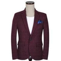 Men's Casual Slim Fit One Button Suit Jacket Wine Red Plaid Blazer Wedding Dress Gray Casual Business Formal Blazer coat