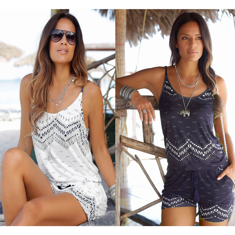 Sexy Sleeveless tassel   jumpsuit   shorts romper women summer backless floral white black   jumpsuit   beach coveralls female frock