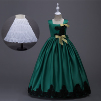 Satin Lace Applique Ball Gown for Little Girl Elegant Prom Dress Emerald Green Yellow Red Blue Purple Kids Formal Dresses Long