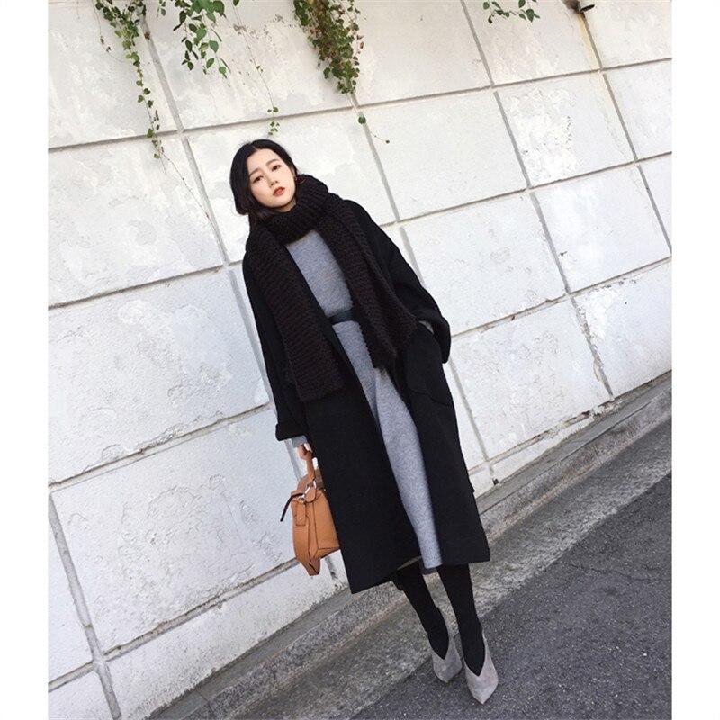 2018 Autumn Winter Coat Women New Wool Coat Female Double Wool Jacket overcoat simple loose long belted wool & blend Outerwear