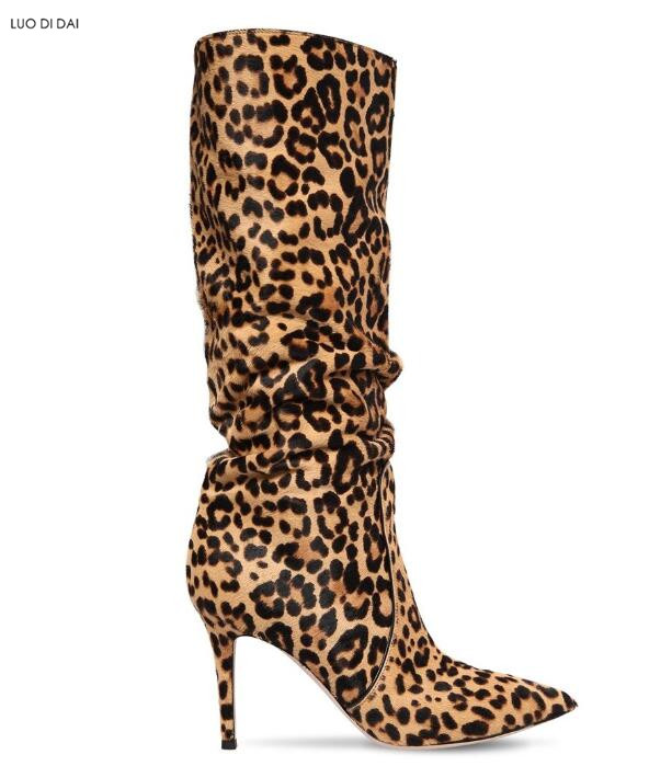 2018 sexy women leopard boots thin heel point toe booties fashion half boots suede leather high heel slip on mujer botas 2018 new women mid calf boots thin heel booties black leather women half boots ladies patent leather boots slip on