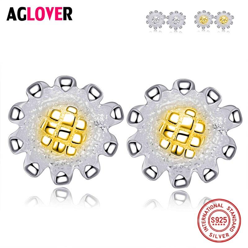 100% Real Genuine 925 Sterling Earrings Jewelry Solid Silver Sunflower Stud Fashion Women