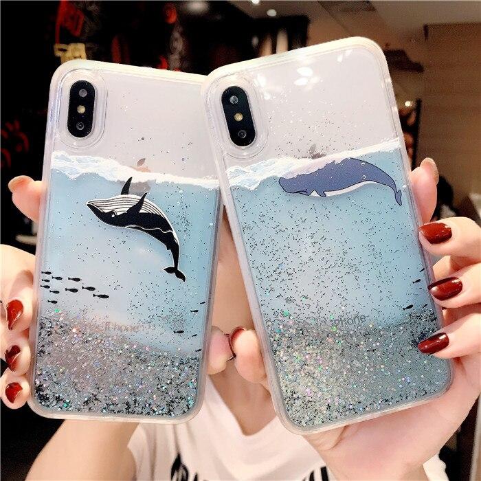 Cartoon Whale Fish Transparent Glitter Star Dynamic Liquid Quicksand Phone Iphone 6 6S 7 8 Plus X