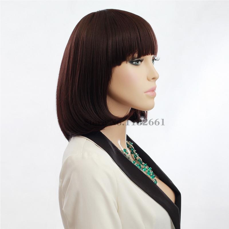 Phenomenal Aliexpress Com Buy Medium Lenght Brown Bob Wigs With Bangs For Hairstyles For Men Maxibearus