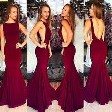 Sexy Mermaid Navy Evening Dresses Burgundy 2018 Backless Evening Gowns Women Prom Dresses Formal Evening Dress robe de soiree стоимость