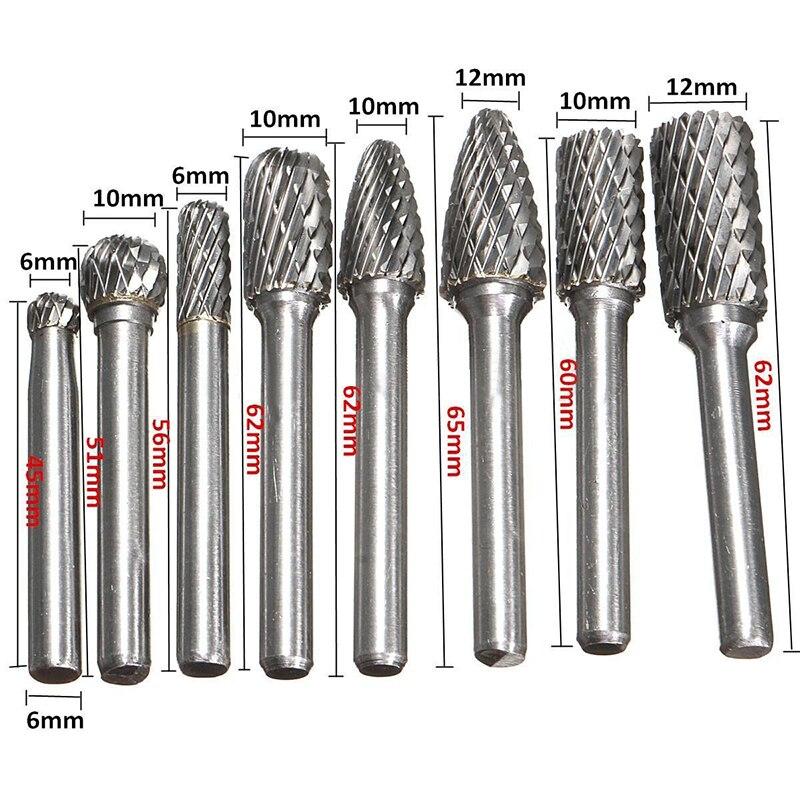 8pcs Set 1 4 Inch 6mm Tungsten Carbide Burr Bits Rotary Files CNC Engraving Tool Set