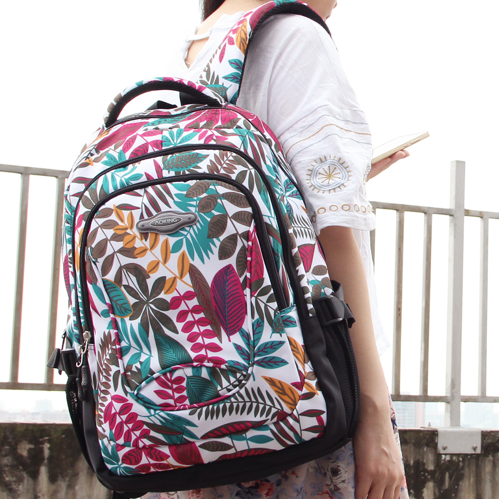 Aoking Brand 2017 Daily Women Backpack For School Teenager Girls Flowers Printed Nylon Travel Backpacks Casual Floral Backpack #6