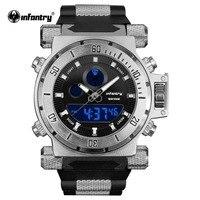 INFANTRY Men S NEW Fashion Military Army Black Chronograph Dual Quartz Backlight Lume Silicone Wrist Watch
