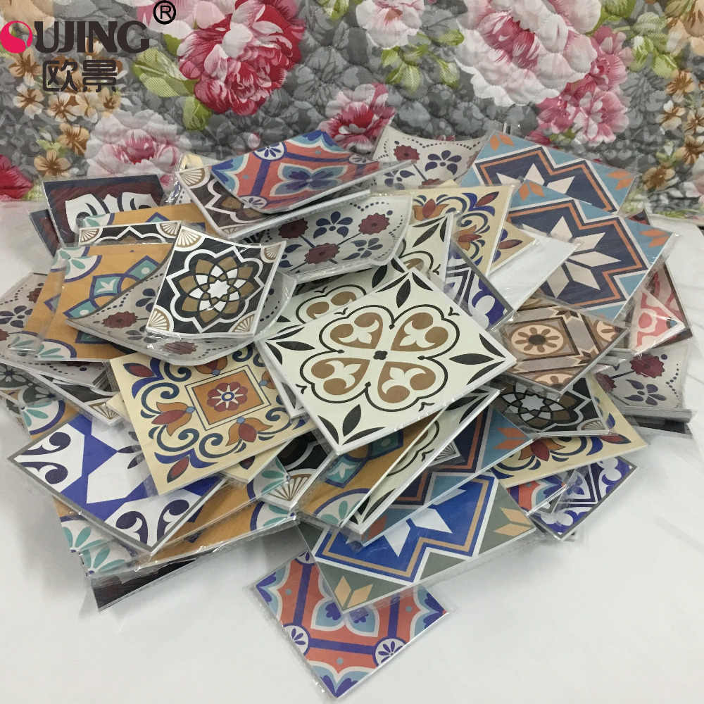 12pcs/set 8/12cm 3D Europe Style Floor Tiles Diagonal Wall Stickers Bathroom Kitchen Waist Line Art Mural Tile Vinyl Wall Decals
